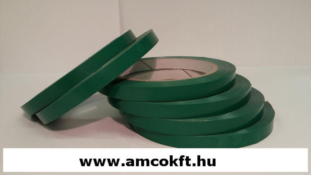 Ragasztószalag, PVC, zöld, 9mm, 66m, 45g/tekercs, tasakzáró géphez