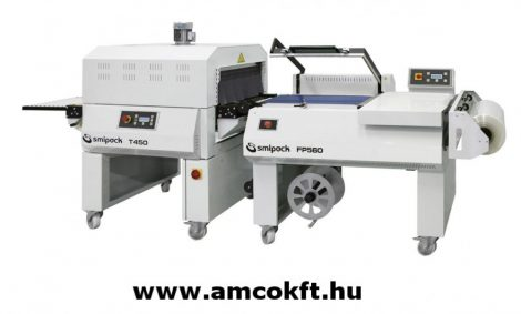 SMIPACK FP560 Zsugorfóliázó gép, L-hegesztő, félautomata, kétlépéses, T450 zsugoralagúttal