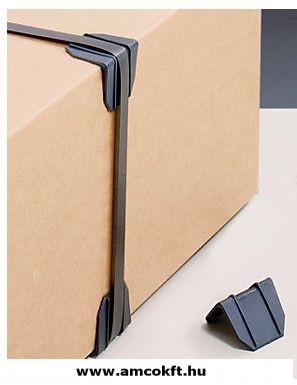 Műanyag élvédő, fekete, sima, 40x40 mm, 2000db/doboz