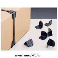 Műanyag élvédő, fekete, tüskés, 40x40mm, 2000db/doboz