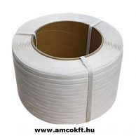 Pántszalag, PP, műanyag, fehér, 12mm, 3000m/tekercs, 0,6mm, 11,13kg/tekercs