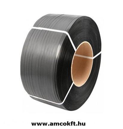 Pántszalag, PP, műanyag, fekete, 15mm, 2000m/tekercs, 0,7mm, 12,1kg/tekercs