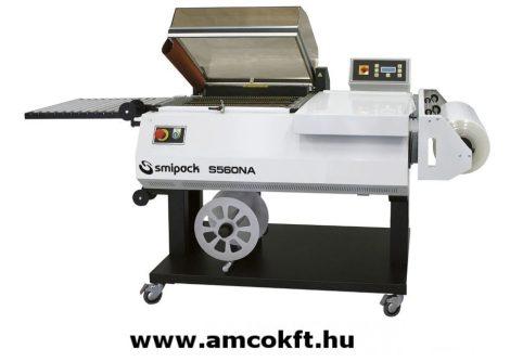 SMIPACK S560NA Zsugorfóliázó gép állvánnyal, egylépéses, kihordó szalaggal, automata működési ciklussal