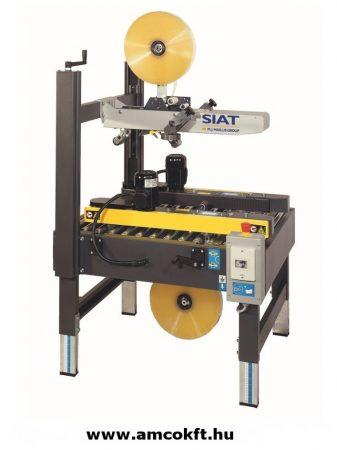 SIAT S8 Oldalsó meghajtású dobozzáró gép, gyűjtő, vízszintes, félautomata, ragasztószalagos