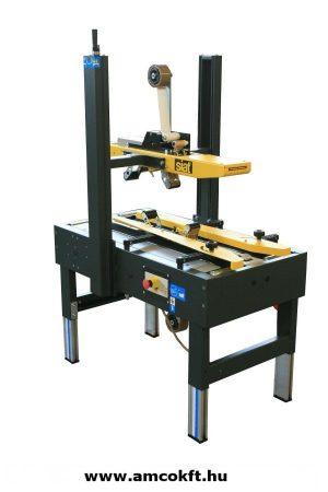 SIAT SK1 Alsó meghajtású dobozzáró gép, gyűjtő, vízszintes, félautomata, ragasztószalagos
