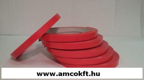 Ragasztószalag, PVC, piros, 9mm, 66m, 45g/tekercs, tasakzáró géphez