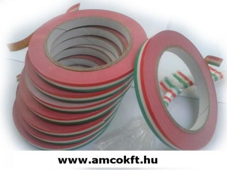 Ragasztószalag, PVC, piros-fehér-zöld, 9mm, 66m, 45g/tekercs, tasakzáró géphez