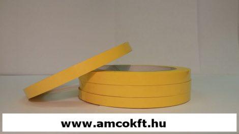 Ragasztószalag, PVC, sárga, 9mm, 66m, 45g/tekercs, tasakzáró géphez