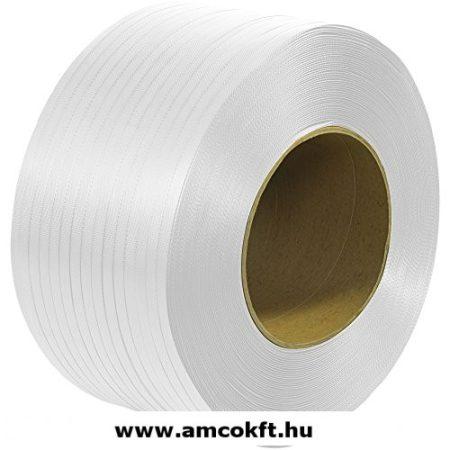 Pántszalag, PP, műanyag, fehér, automata, 5mm, 6500m/tekercs, 0,45mm, 11,15 kg/tekercs