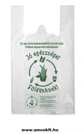 Kukoricakeményítő alapú PLA natúr ingvállas táska 240+2x60x450x0,022 mm