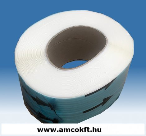Pántszalag, PP, műanyag, fehér, 12mm, 3000m/tekercs, 0,6mm, 11,13kg/tekercs (sérült csévével)