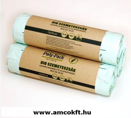 Kukoricakeményítő alapú PLA zsák, 120 liter, 730x1150x0,03 mm 10db/tekercs